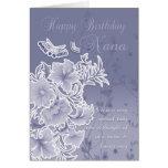 Nana, tarjeta de cumpleaños con las flores y las m