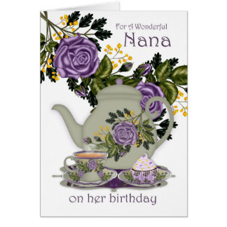 Nana Tea And Cupcake Birthday Card