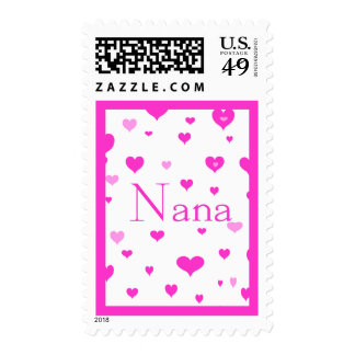 Nana with Pink Hearts Postage Stamp