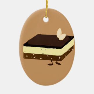 Nanaimo bar smiling ceramic ornament