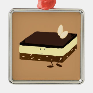 Nanaimo bar smiling metal ornament