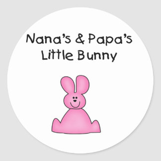 Nana's and Papa's Little Bunny T-shirts and Gifts Round Sticker