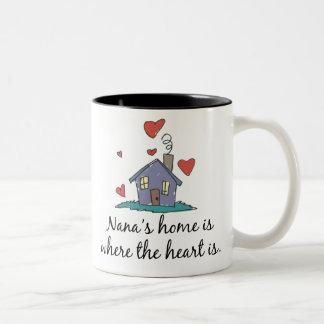 Nana's Home is Where the Heart is Two-Tone Coffee Mug