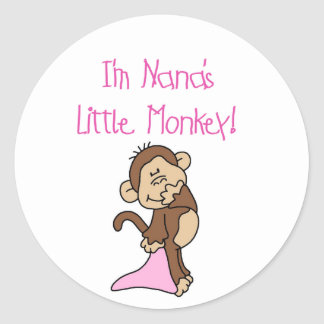 Nana's Monkey - Pink T-shirts and Gifts Classic Round Sticker