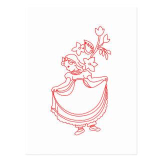 Nancy Etticoat Redwork Postcard