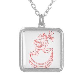 Nancy Etticoat Redwork Square Pendant Necklace