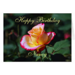 Nancy Happy Birthday Red, Yellow and White Rose Greeting Card