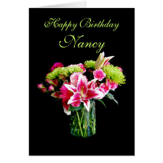 Nancy Happy Birthday, Stargazer Lily Bouquet Card
