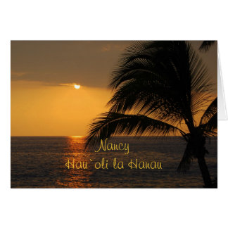 Nancy Hawaiian Happy Birthday Tropical Sunset Card