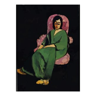 Nancy in Green, Sitting, Matisse Style