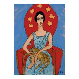 Nancy in Red Chair with Solomon Cat Poster