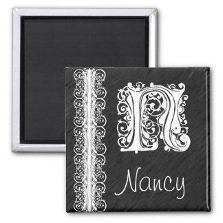 Nancy N Monogram White Lace on Black Magnet
