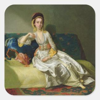 Nancy Parsons in Turkish Dress, c.1771 (oil on cop Square Sticker