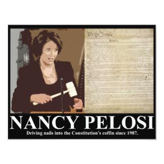 """Nancy Pelosi: Clavos de ataúd de la constitución Invitación 4.25"""" X 5.5"""""""