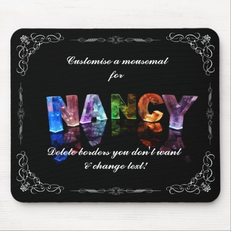 Nancy - The Name Nancy in 3D Lights (Photograph) Mousepads
