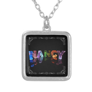 Nancy  - The Name Nancy in 3D Lights (Photograph) Square Pendant Necklace