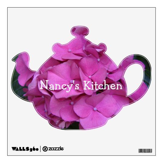 Nancy's Kitchen Wall Decal with Pink Flowers