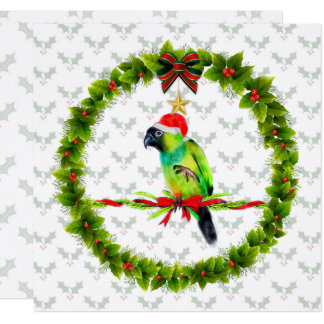 Nanday Conure Santa with Holly Leaves and Wreath Card