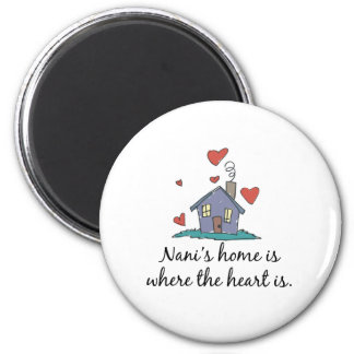 Nani's Home is Where the Heart is 2 Inch Round Magnet
