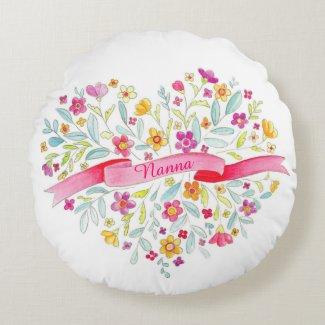 Nanna heart bouquet throw pillow round pillow