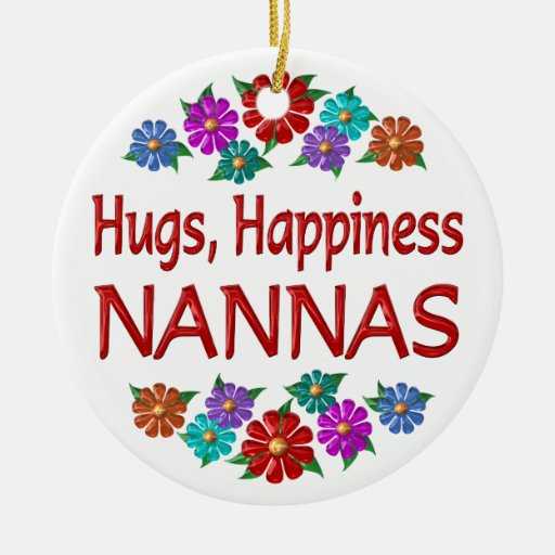 Nanna Hugs Double-Sided Ceramic Round Christmas Ornament