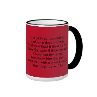 Nanna's Hearth Logo & Havamal 135 Coffee Cup Ringer Coffee Mug