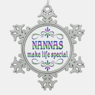 Nannas Make Life Special Snowflake Pewter Christmas Ornament