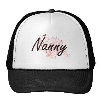 Nanny Artistic Job Design with Butterflies Trucker Hat