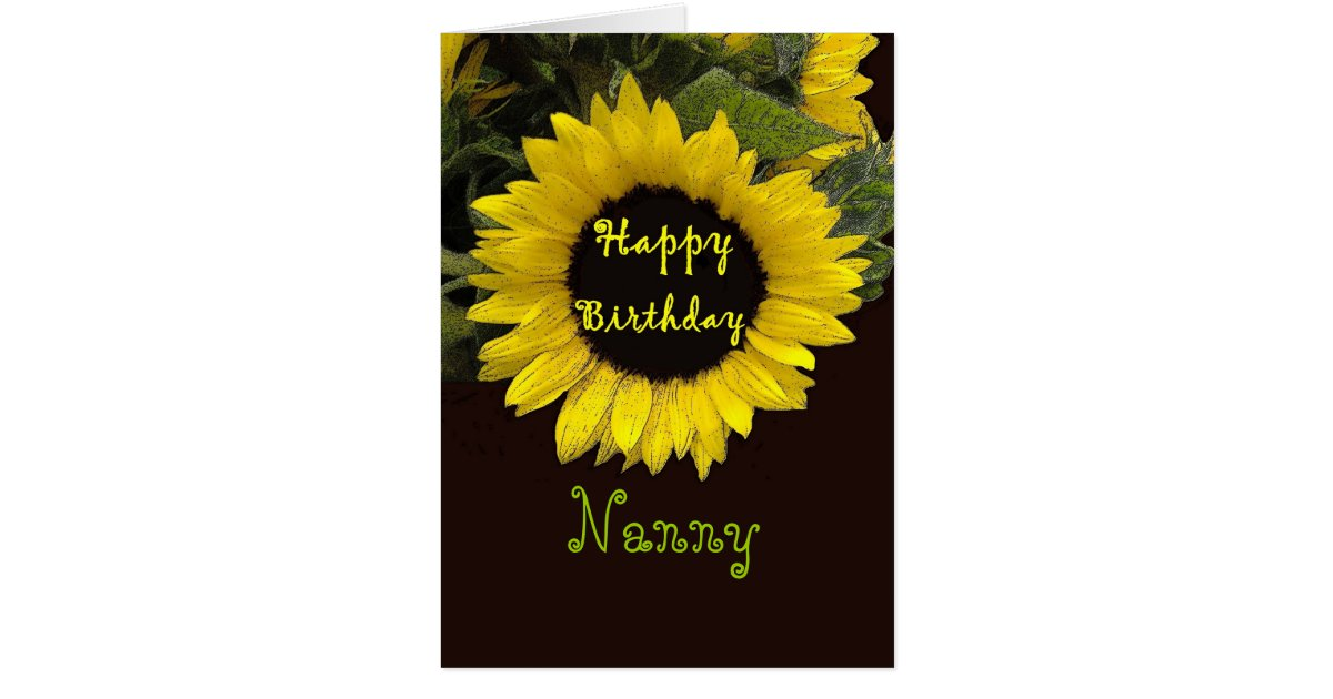 nanny happy birthday with cheerful sunflower card