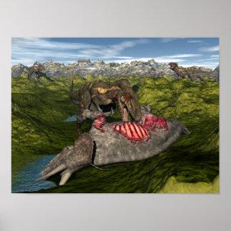Nanotyrannus eating dead triceratops poster