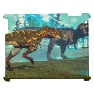 Nanotyrannus hunting small tyrannosaurus iPad cases