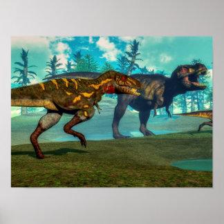 Nanotyrannus hunting small tyrannosaurus poster