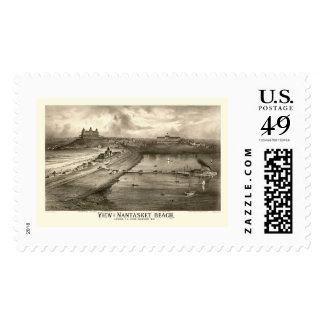 Nantasket Beach, MA Panoramic Map - 1879 Stamp