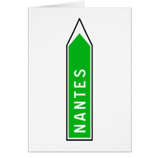 Nantes, Road Sign, France Card