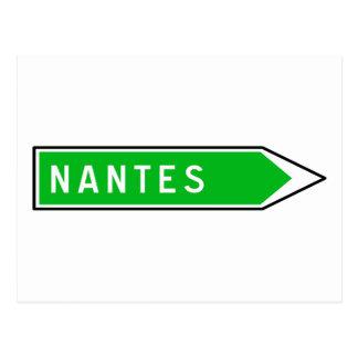 Nantes, Road Sign, France Postcard