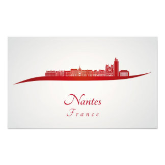Nantes skyline in red cojinete