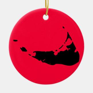 Nantucket adaptable adorno navideño redondo de cerámica