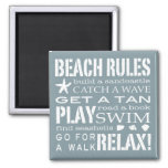 Nantucket Beach Rules Blue & White 2 Inch Square Magnet