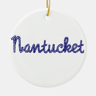 Nantucket Blue Ceramic Ornament