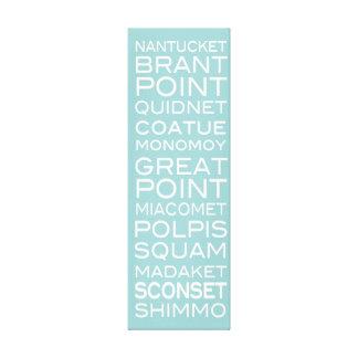 Nantucket coloca la aguamarina y la decoración bla lona envuelta para galerias