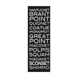 Nantucket coloca la decoración negra y blanca de l impresion de lienzo