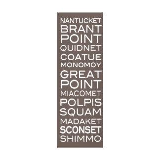 Nantucket coloca la pizarra Brown y la decoración  Impresión En Lienzo Estirada