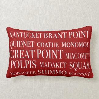 Nantucket coloca rojo y blanco náuticos almohadas