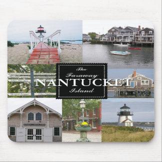 Nantucket el collage lejano Mousepad de la isla