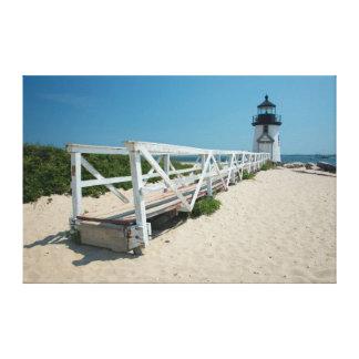 Nantucket. Faro de madera viejo Impresión En Tela