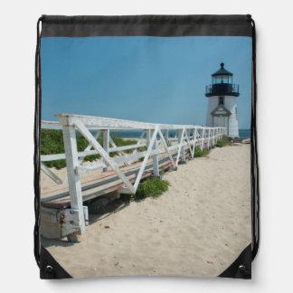 Nantucket. Faro de madera viejo Mochilas