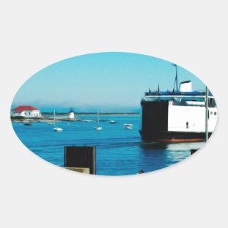 Nantucket Ferry Oval Sticker