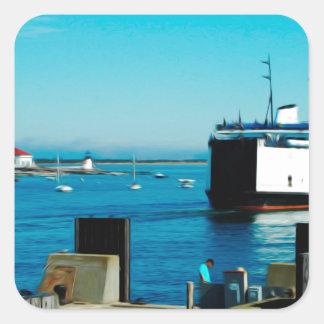 Nantucket Ferry Square Sticker