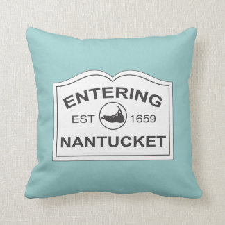 Nantucket Island, Est 1659 with Map in Aqua Teal Throw Pillow