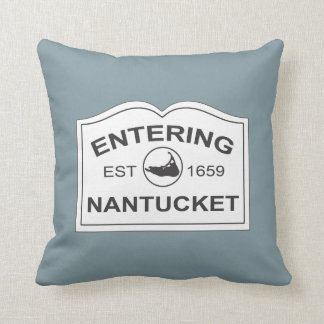 Nantucket Island, Est 1659 with Map in Denim Blue Throw Pillow